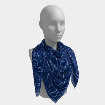 Anchor Dream Square Scarf - Blue on Navy