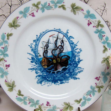 $36.00 Altered Vintage Plate Prussian Blue Victorian by AustinModern