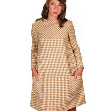 Vintage Mod Mini Dress Wool Hounds-tooth Check Craig 1970S 36 Bust