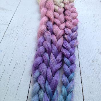 Tie Dye Hair Extensions, Dip Dye Blonde Remy human hair, Pink, Purple, Teal, Blue//(7) Pieces//18""