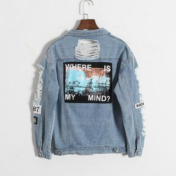 Rretro Washing Frayed Embroidery Letter Patch Bomber Jacket Light Blue Ripped Denim Coat - Beauty Ticks
