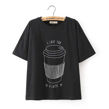 Summer Women's Fashion Cotton Cup Pattern Short Sleeve T-shirts Casual Tops Bottoming Shirt [6047765889]