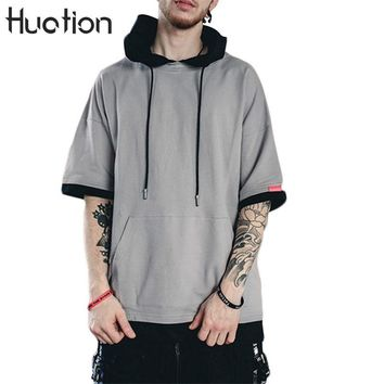Huation  Kanye West Hi-street Hooded Half Sleeve Hoodies Men 2017 Autumn Winter Loose Patchowork Sweatshirt Pullovers Tops Male