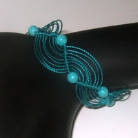 Friendship Bracelet Rasta Style Beaded Wave in Turquoise | Wooleycreek - Jewelry on ArtFire