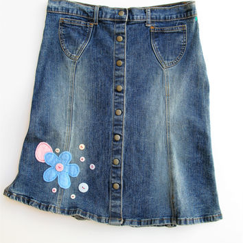 Forever 21 Snap Front Jean Skirt with Felt Flower & Button Embellishment L