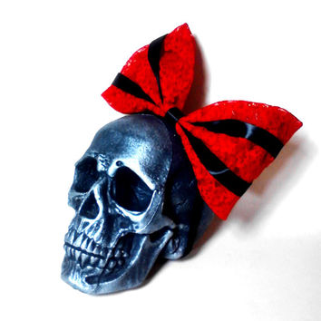 Red and Black, Lace, Ribbon, Lolita, Goth, Hair Bow, Headband, Pin Up, Rockabilly, Vampire, Costume, Cosplay, Red Hair Bow, Lolita Hair Bow