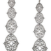 Loree Rodkin | Lace 18-karat rhodium white gold diamond drop earrings | NET-A-PORTER.COM
