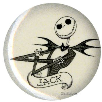 """Licensed cool Disney Nightmare Before Christmas JACK TATTOO 1 1/4"""" Button Pin Lanyard Charm"""