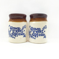 Home Sweet Home Salt & Pepper Shakers / Colorful Spice Containers / Set of 2 / Vintage Kitchen Decor / Table Decor / Stoppers Intact