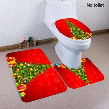 Fashion Christmas Print Decorations 3pcs Toilet Seat Covers Bathroom Rug Mat Set