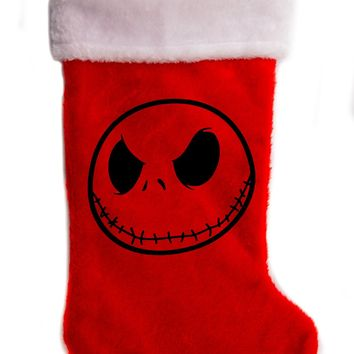 "Jack Skellington Nightmare Before Christmas Holiday Stocking 17"" Red/White Plush Hanging Sock Santa Stuffer Merry Gothmas"