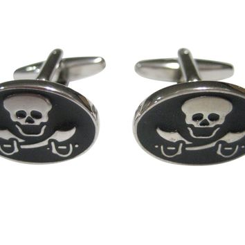 Black and Silver Toned Oval Pirate Skull Cufflinks