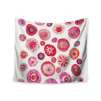 """Nic Squirrell """"All The Flowers"""" Pink Red Wall Tapestry"""