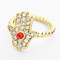 Hamsa Knuckle Ring RED