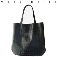 Over sized Leather Hobo Bag Black Croc Embossed Everyday Tote Bag, Basic Leather Big Hobo Bag