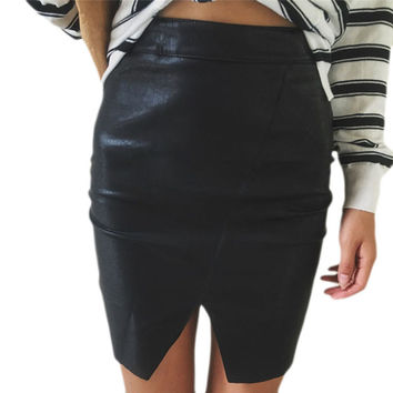 HimanJie Black PU Faux Leather Asymmetric Mini Bodycon Skirt  Women Autumn Casual Pencil Skirt Sexy Streetwear Party Skirt