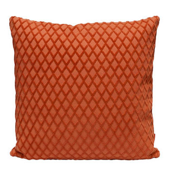 Luxury Velvet Pillow, geometric cushion cover handmade from vintage upholstery fabrics by EllaOsix in dark salmon orange 18x18