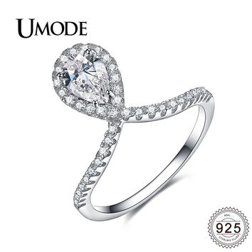 UMODE Fashion 925 Sterling Silver Rings for Women Wedding Engagement Pear Cut CZ Jewelry Party Gifts Bague Femme Anillos ULR0341