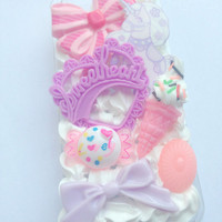 Decoden Pastel Kawaii FairyKei Unicorn Sweetheart Resin Ice Cream Spinkles Cute Whipped Cream iPhone 5 Cell Phone Case