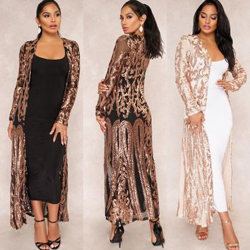 spring lace cardigan sequin mesh Long women tops jacket casual Coats latex