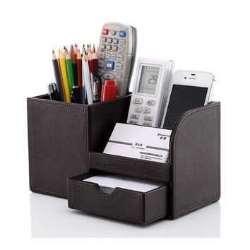 Wooden leather multi-functional desk stationery organizer storage box pen pencil box  holder case brown