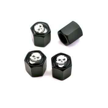 Black And White Skull Styling Auto Car Wheel Tyre Valve Caps