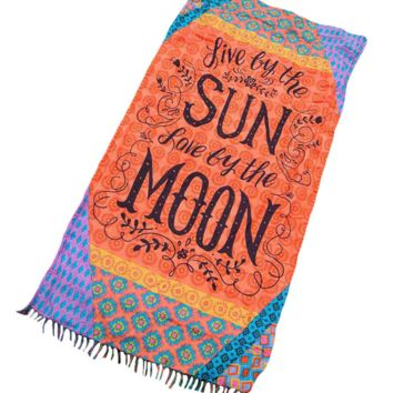 Orange-colored alphabet printed square beach shawl seaside holiday sunscreen towel