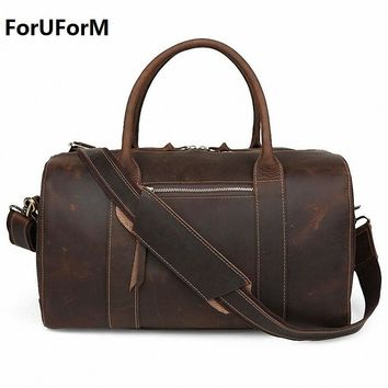 New Arrival Crazy Horse Leather Unisex Huge Luggage Bag 100% genuine leather Travel duffle bag Tote Bag retro travel bags LI-643