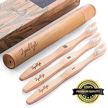 Bamboo Toothbrush Set With Travel Toothbrush Case, Pack of 3 Natural Bamboo Toothbrushes And Biodegradable Toothbrush Holder, Soft Bristle Toothbrush, Recycled Individual Packaging, BPA Free