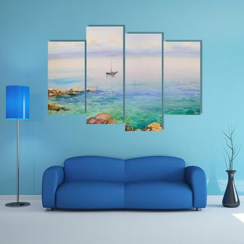 Watercolor Painting Seascape Multi Panel Canvas Wall Art