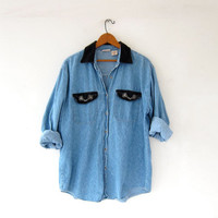 vintage jean shirt. light wash jean shirt. oversized denim shirt.