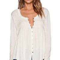 Free People Blue Bird Smocked Top in Cream