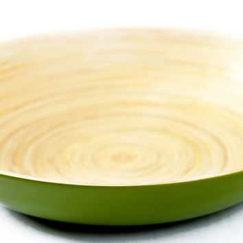 Coiled bamboo plate bowl, kiwi