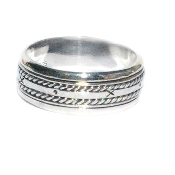 Sterling Silver Bali X And O Mens Spinner Ring