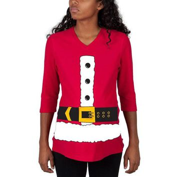 DCCKU3R Christmas Santa Claus Costume Red Maternity 3/4 sleeve T-shirt