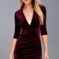 Anything For You Burgundy Velvet Bodycon Dress