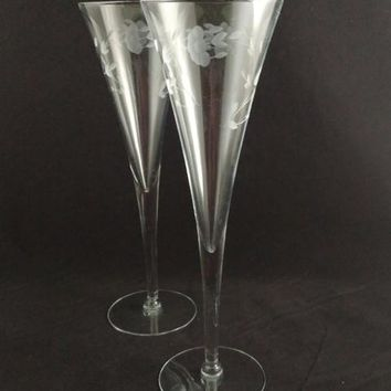 Princess House Heritage Champagne Flutes  S/2