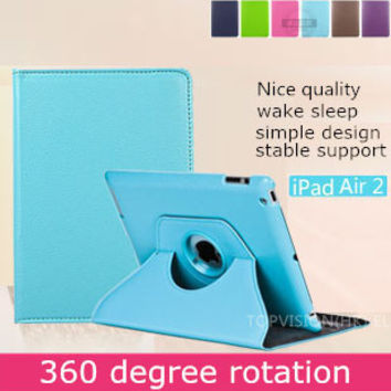 Nice quality stable support stand bling leather smart case for apple ipad air 2 case cover 360 rotating protective shell skin
