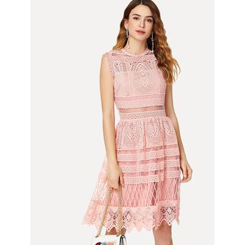 Pink Round Neck Lace Overlay Shift Dress