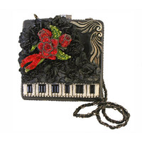 MARY FRANCES 1920's Style Black Baby Grand Handbag - Unique Vintage - Cocktail, Evening, Pinup Dresses