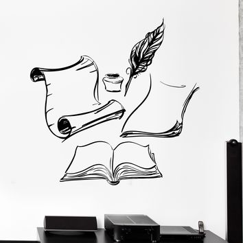 Vinyl Wall Decal Books Ink Letter Writer Nib Pen Quill Stickers Mural Unique Gift (179ig)