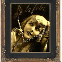 8x10 Art Print - Art Nouveau Style Art Deco Flapper Glamorous Smoking French