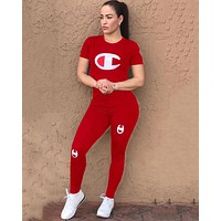 Champion Summer Popular Women Casual Print Short Sleeve Top Pants Two-Piece Red
