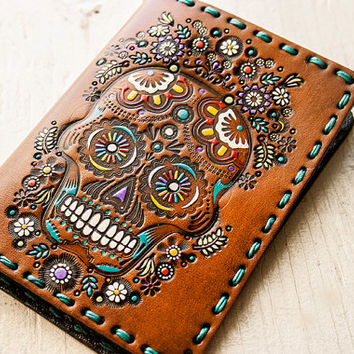 Leather Passport Cover - Sugar Skull Floral Design - Day of the Dead - Mexicali Calaveras - Día de Muertos - Flower Garden - Custom Gift