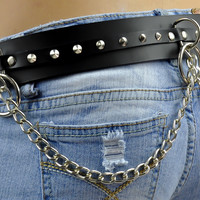 Gothic Leather O Ring Belt with Cone Spikes and Chains