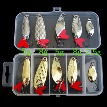 MUQGEW 10PCS Fishing Lures Mixed Hard Baits Crankbait Floating Fishing Lures Hooks Kit Set with Storage Box #EW