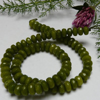 20 Faceted Olive Green Peridot Gemstone Beads 8x5mm