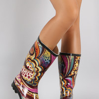 Mixed Print Round Toe Rubber Rain Boots
