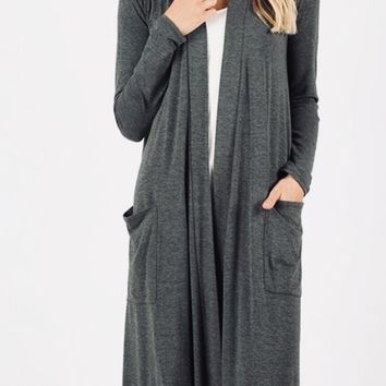 """Women's Plus Size Cardigan 44"""" Long Duster With Pockets Gray: 1x/2x/3x"""