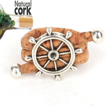 Natural cork Antique sliver rudder vintage women cork Ring original adjustable  handmade wooden vegan jewelry HR-015
